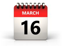 3d 16 march calendar. 3d illustration of 16 march calendar over white background Stock Photo