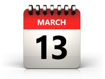 3d 13 march calendar. 3d illustration of 13 march calendar over white background Vector Illustration