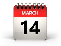 3d 14 march calendar. 3d illustration of 14 march calendar over white background Royalty Free Illustration