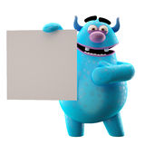 3D marginal monster - humorous character. Cheerful character isolated on a white background with a sign for free text or logo Stock Images