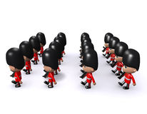 3d Marhcing formation of Coldstream Guards side view Royalty Free Stock Photo