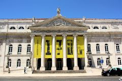 D. Maria II National Theatre in Lisbon, Portugal. Façade of the D. Maria II National Theatre in Lisbon, Portugal. Built around 1450 as a lodging for foreign stock photography