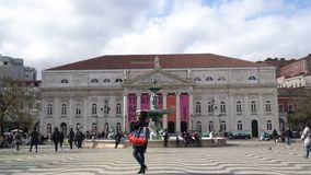 The D.Maria National Theatre in Lisbon stock footage