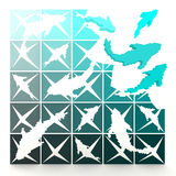 3D marine pixelated fishes turn to life Royalty Free Stock Images