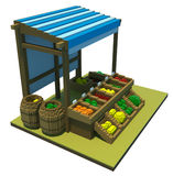 3d market stand with fruit Stock Photography