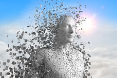 3D maschio bianco AI contro il cielo e le nuvole Immagine Stock