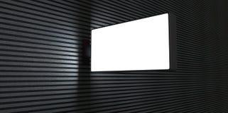 3d masquent le panneau d'affichage de publicité de rue sur le mur de briques la nuit sur les lignes noires et blanches backgroud  Photographie stock libre de droits