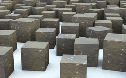 3D mass cube rock material. The 3d cube create by rock textures and materials Royalty Free Stock Photo