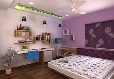 3D Master bedroom interior design Stock Image