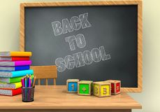 3d math cubes. 3d illustration of grey chalkboard with back to school text and math cubes Royalty Free Stock Photos