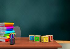 3d math cubes. 3d illustration of schoolboard with math cubes and pile of literature Royalty Free Stock Photo