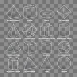 3d math geometric outline shapes isolated on transparent background Stock Images