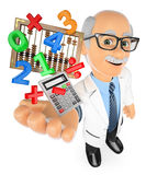 3D Math teacher with calculator and abacus Royalty Free Stock Photo