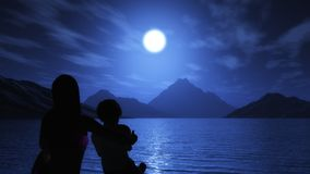 3D matka i syn przyglądający ocean przy nocą out ilustracja wektor