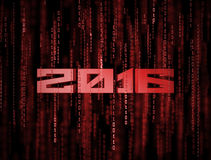 3D 2016 Matrix Background. 3D Matrix Background. Abstract red new year 2016 binary code poster Royalty Free Stock Photo