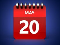 3d 20 may calendar. 3d illustration of may 20 calendar over blue background Stock Photos