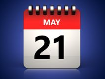 3d 21 may calendar. 3d illustration of 21 may calendar over blue background Stock Image