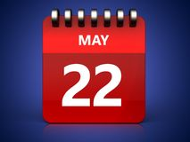 3d 22 may calendar. 3d illustration of may 22 calendar over blue background Stock Images