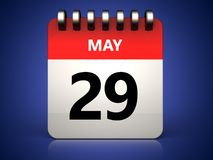 3d 29 may calendar. 3d illustration of 29 may calendar over blue background Stock Photos