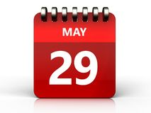 3d 29 may calendar. 3d illustration of may 29 calendar over white background Royalty Free Stock Photo