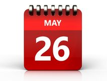 3d 26 may calendar. 3d illustration of may 26 calendar over white background Royalty Free Stock Image