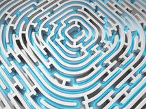 3D Maze with blue path Stock Photo