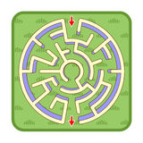 3d maze game top view, circle shaped, green grass background Stock Photo