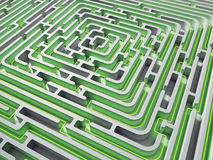 3D Maze with green path Royalty Free Stock Image