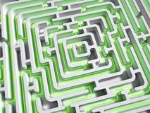 3D Maze with green path Stock Photography