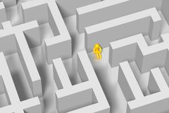 3D maze, labirynth concept. 3D cartoon character and a maze/labyrinth - great for topics like being lost, confused, depression, finding a way out etc Stock Images