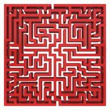 3D Maze. Labyrinth shape design element. One entrance, one exit and one right way to go. But many paths to deadlock. Unique design element abstract render maze Stock Image
