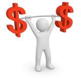 3d mężczyzna mienia barbell z dolarowymi znakami Zdjęcia Royalty Free