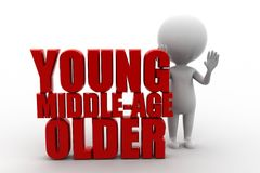 3D mężczyzna młody wiek średni stary Zdjęcia Stock