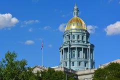 Dôme d'or de bâtiment de capitol d'état du Colorado Images libres de droits