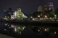 Dôme de bombe atomique de vue de nuit Photos libres de droits