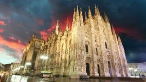 Dôme de cathédrale de Milan - Italie, laps de temps Photos stock