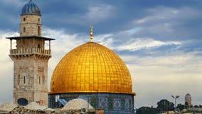 Dôme de la mosquée de roche à Jérusalem banque de vidéos