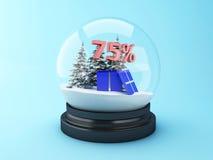 dôme de la neige 3d avec des arbres et la remise du rouge 75% Images stock