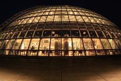 Dôme en verre de Perlan la nuit, Reykjavik, Islande photos libres de droits