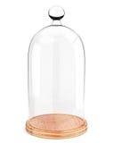 Dôme en verre du plat en bois sur le fond blanc Images libres de droits