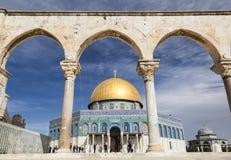 Dôme sur la roche sur l'Esplanade des mosquées jérusalem l'israel Image libre de droits