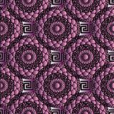 3d meander greek key seamless pattern. Modern abstract meander seamless pattern. Vector geometric 3d violet background. Abstract shapes, figures, flowers Stock Photos