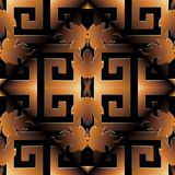3d meander greek key seamless pattern. Vector black gold 3d luxu. Ry shiny  background. Modern surface wallpaper. Baroque style floral ornaments, leaves. Rhombus Royalty Free Stock Image