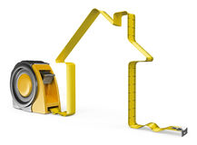 3D Measure tape. House concept Royalty Free Stock Image