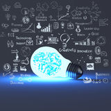 3d meatal brain inside light bulb. And drawing business strategy as concept Stock Images