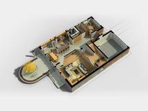 3D Meblujący Domowy wnętrze Zdjęcie Royalty Free