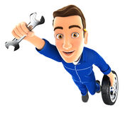 3d mechanic flying with wrench and wheel Royalty Free Stock Photo