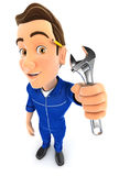 3d mechanic holding adjustable wrench. Illustration with  white background Royalty Free Stock Photos