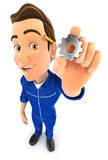3d mechanic holding a gear. Illustration with isolated white background Royalty Free Stock Photos