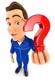 3d mechanic holding a question mark icon. Illustration with isolated white background Royalty Free Stock Photography